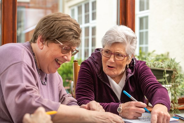 Residents enjoy drawing together